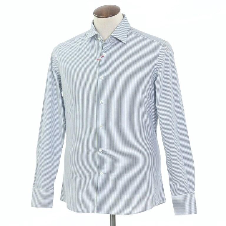 【新品】グランシャツ Glanshirt コットン ストライプ セミワイドカラーシャツ ホワイト×グリーン×ダークブルー【サイズ41】【WHT】【S/S/A/W】【状態ランクN】【メンズ】【10602-956097】