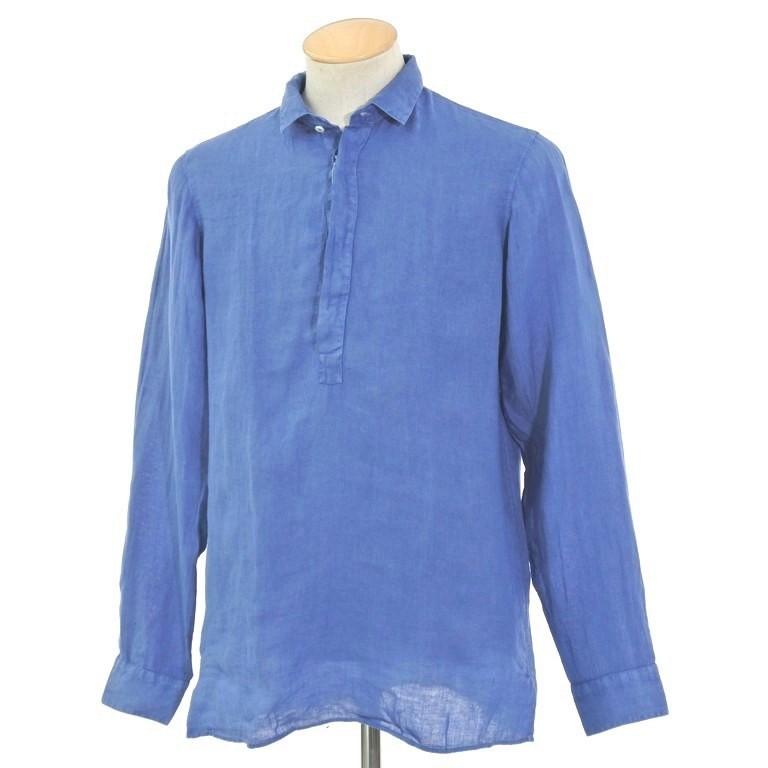 【新品】グランシャツ Glanshirt リネン プルオーバーシャツ ブルー【サイズ37】【BLU】【S/S】【状態ランクN】【メンズ】【10602-956055】