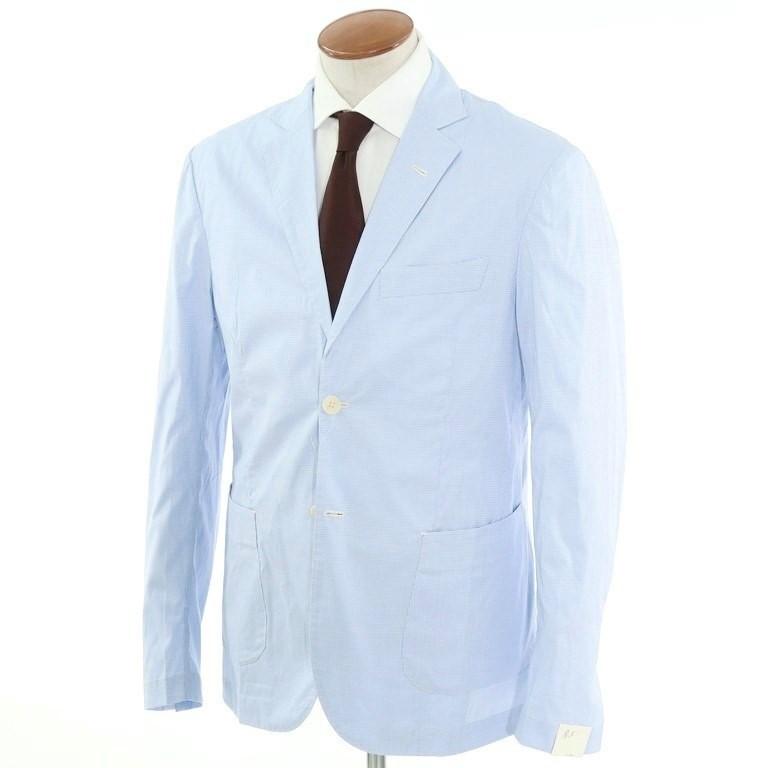 【新品】ジョバンニ イングレーゼ Giovanni Inglese チェック コットン アンコン シャツジャケット ライトブルー×ホワイト【サイズ52】【BLU】【S/S】【状態ランクN】【メンズ】【10102-956053】