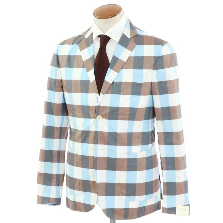 【新品】ジョバンニ イングレーゼ Giovanni Inglese チェック コットン アンコン シャツジャケット ブラウン×ライトブルー×ホワイト【サイズ48】【BRW】【S/S】【状態ランクN】【メンズ】【10102-956052】