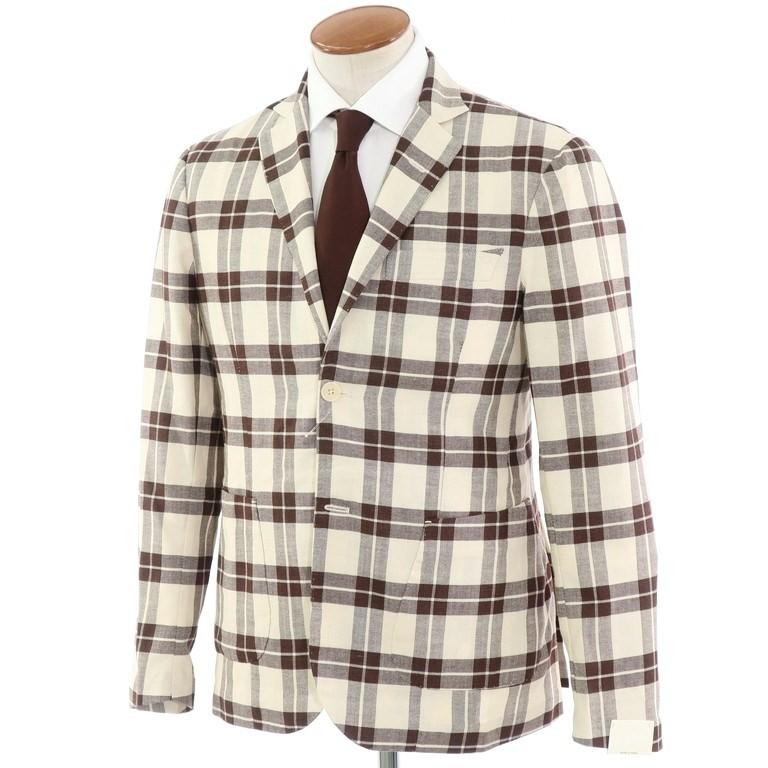 【新品】ジョバンニ イングレーゼ Giovanni Inglese チェック コットン アンコン シャツジャケット ブラウン×ホワイト【サイズ48】【BRW】【S/S】【状態ランクN】【メンズ】【10102-956051】