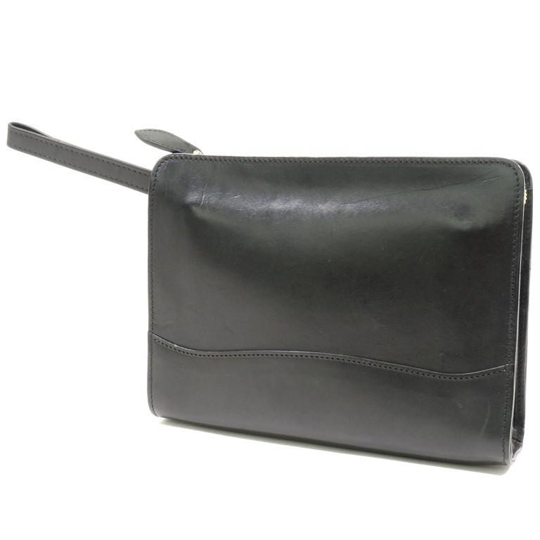 【中古】オオバセイホウ 大峡製鞄 ブライドルレザー クラッチバッグ ブラック【W24×H18.5×D5】【BLK】【S/S/A/W】【状態ランクB】【メンズ】【11205-956009】