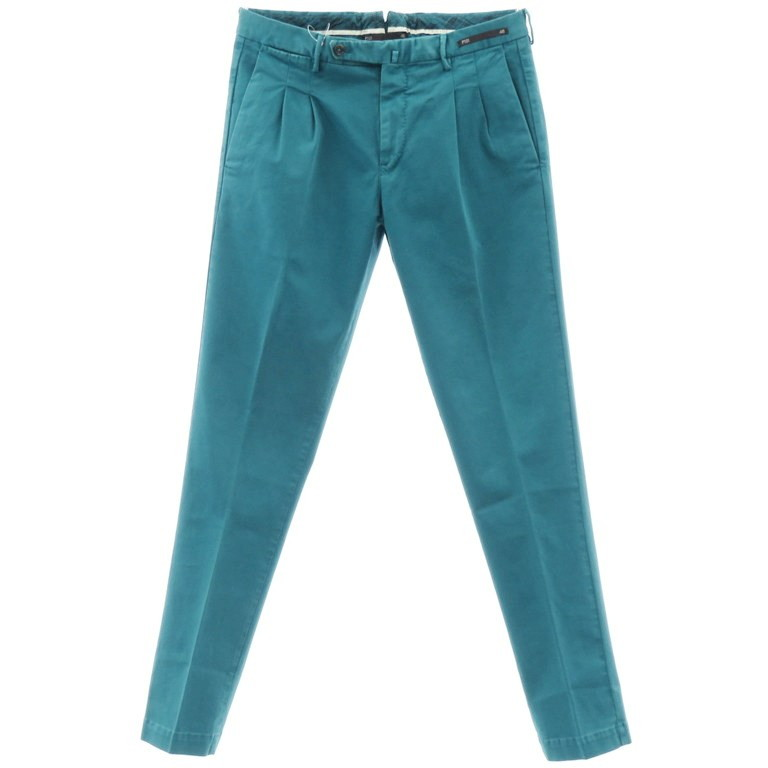 【新品】ピーティーゼロウーノ PT01 ストレッチコットン ツープリーツ スラックス パンツ MAESTRO ブルーグリーン【サイズ46】【GRN】【S/S】【状態ランクN】【メンズ】【10902-956001】