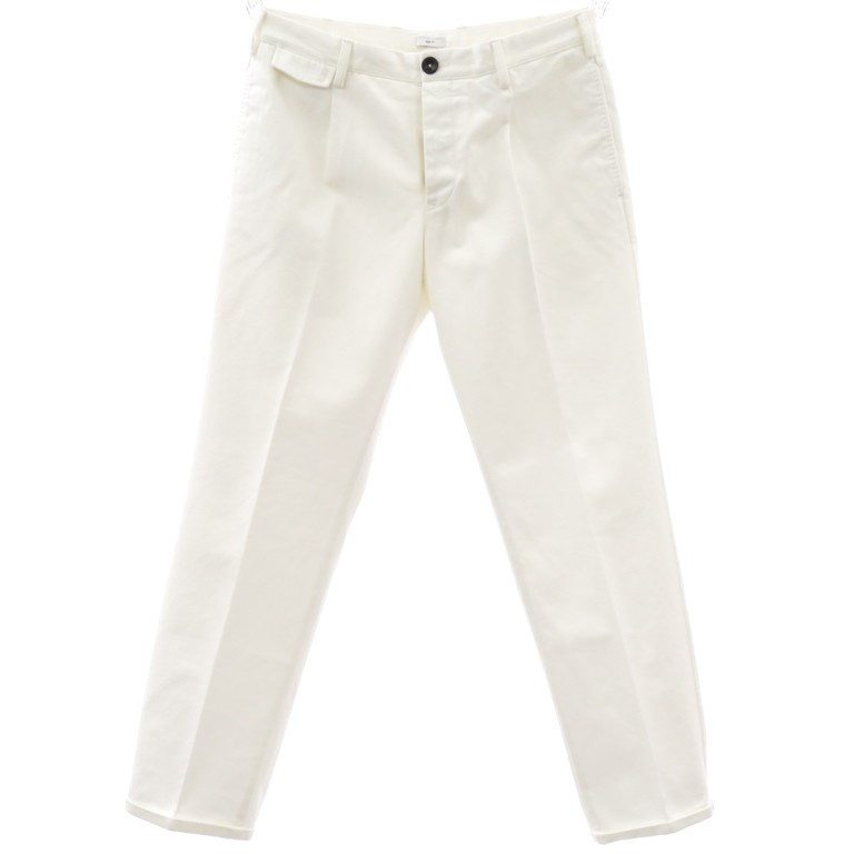 【新品】ピーティーゼロウーノ PT01 コットン ワンプリーツ スラックス パンツ FORWARD Style:01  ホワイト【サイズ33】【WHT】【S/S】【状態ランクN】【メンズ】【10902-955984】