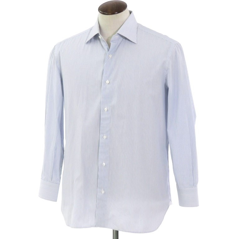 【中古】リベラーノ&リベラーノ LIVERANO&LIVEARANO ストライプ柄 コットン ワイドカラー ドレスシャツ ホワイト×ブルー【サイズ42】【WHT】【S/S/A/W】【状態ランクB】【メンズ】【10601-955967】