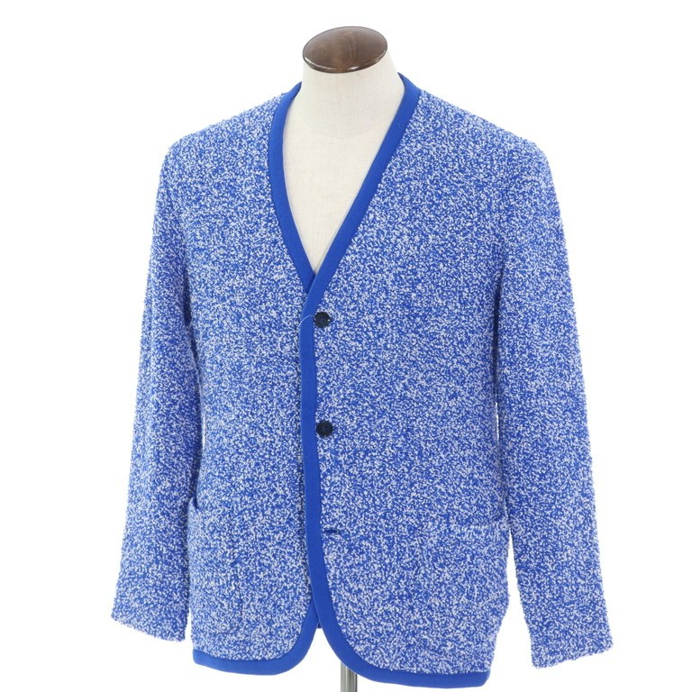 【新品】ラルディーニ LARDINI パイル調 ウール ニット カーディガン ブルー×ホワイト【サイズL】【BLU】【A/W】【状態ランクN】【メンズ】【10802-955935】