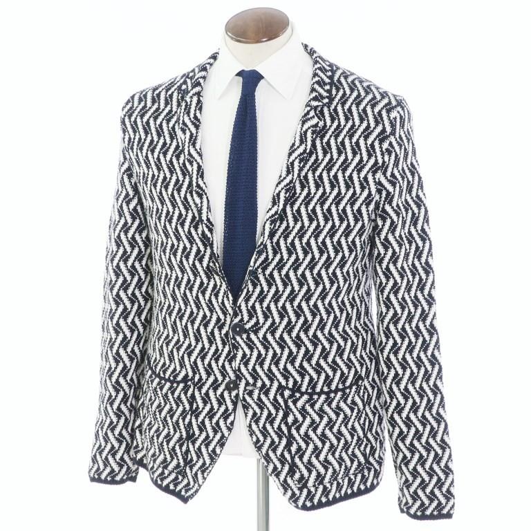 【中古】パニカーレ PANICALE コットン 2つボタン ニットジャケット ネイビー×ホワイト【サイズ50】【NVY】【S/S】【状態ランクB】【メンズ】【10199-955935】