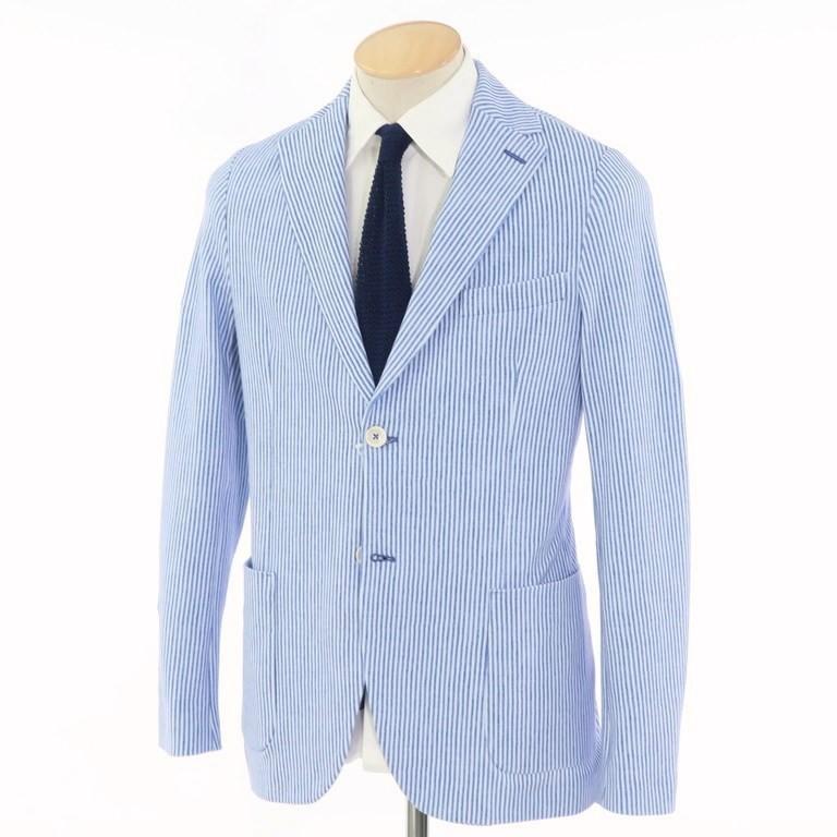 【中古】チルコロ1901 CIRCOLO 1901 ストライプ柄 プリント コットンジャージー 2つボタン ジャケット ブルー×ホワイト【サイズ42】【BLU】【S/S】【状態ランクB】【メンズ】【10102-955933】