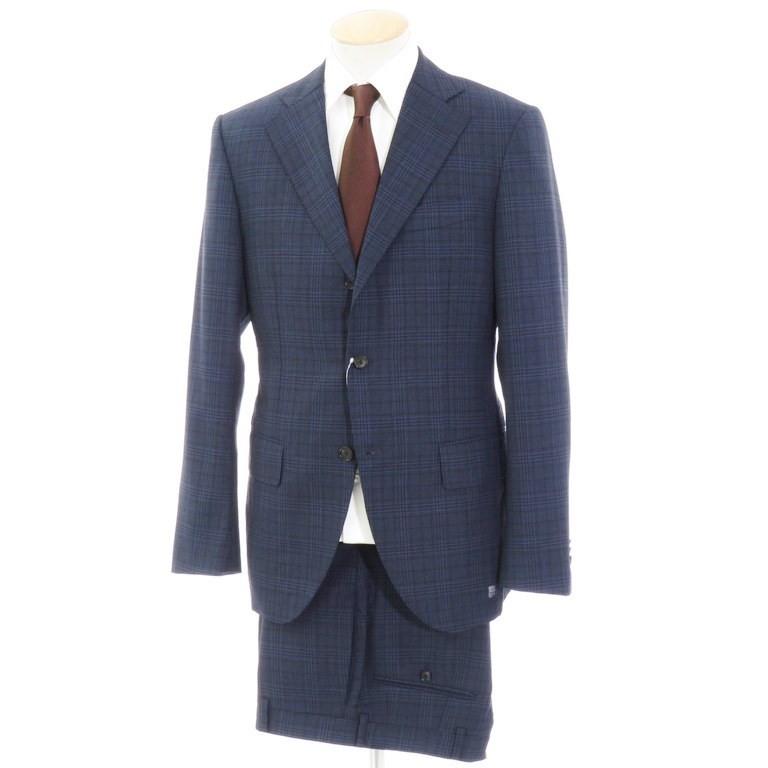 【中古】インベストメント クロージング INVESTMENT CLOTHING チェック柄 ウール スーツ ネイビー×ブラック【サイズ表記なし(S位)】【NVY】【S/S】【状態ランクB】【メンズ】【10402-955935】