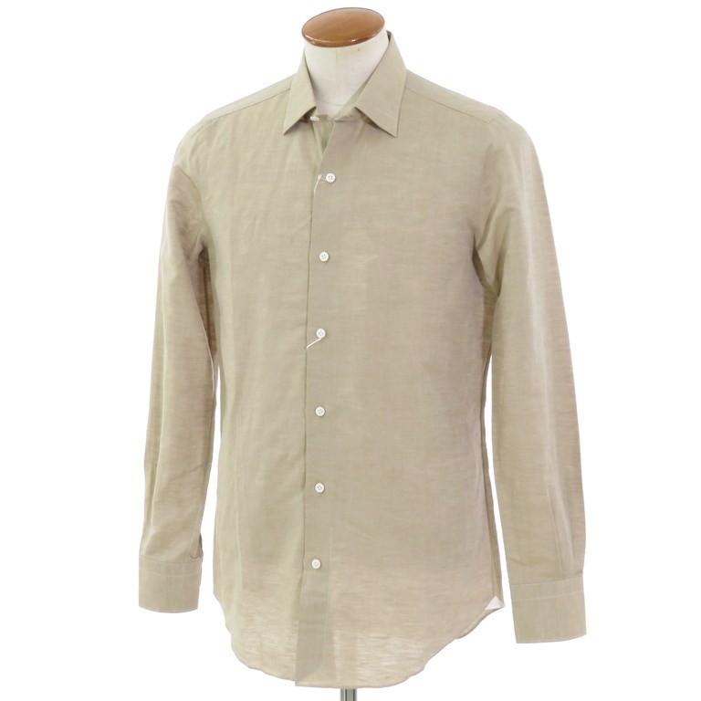 【新品】ベルベスト Belvest コットンリネン レギュラーカラーシャツ ベージュ【サイズ39】【BEI】【S/S】【状態ランクN】【メンズ】【10602-955928】