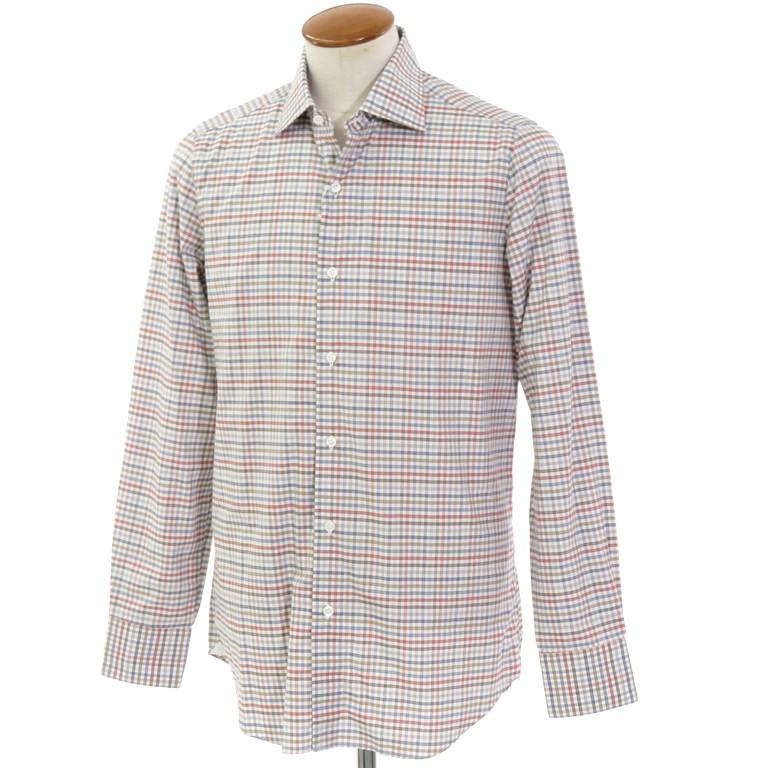 【新品】ベルベスト Belvest チェック柄 コットン セミワイドカラーシャツ ホワイト×ブルーグレー×ブラウン系【サイズ40】【WHT】【S/S/A/W】【状態ランクN】【メンズ】【10602-955928】