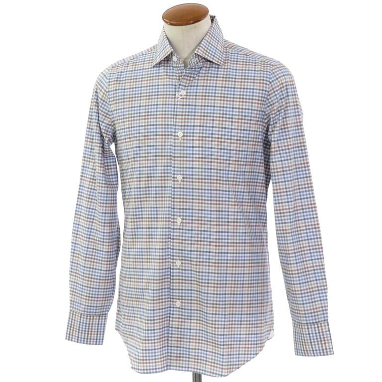 【新品】ベルベスト Belvest チェック柄 コットン セミワイドカラーシャツ ホワイト×ブラウン系×ブルー系【サイズ39】【WHT】【S/S/A/W】【状態ランクN】【メンズ】【10602-955929】