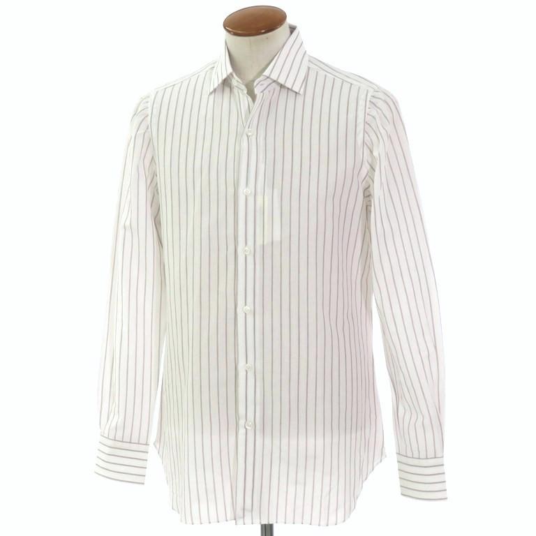 【新品】ベルベスト Belvest ストライプ柄 コットンリネン セミワイドカラーシャツ ホワイト×ブラウン【サイズ39】【WHT】【S/S】【状態ランクN】【メンズ】【10601-955928】