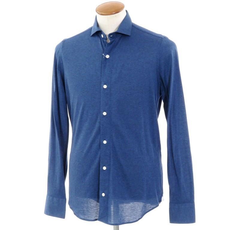 【新品】ベルベスト Belvest ワイドカラー コットンジャージーシャツ ネイビーブルー【サイズ39】【NVY】【S/S/A/W】【状態ランクN】【メンズ】【10602-955926】