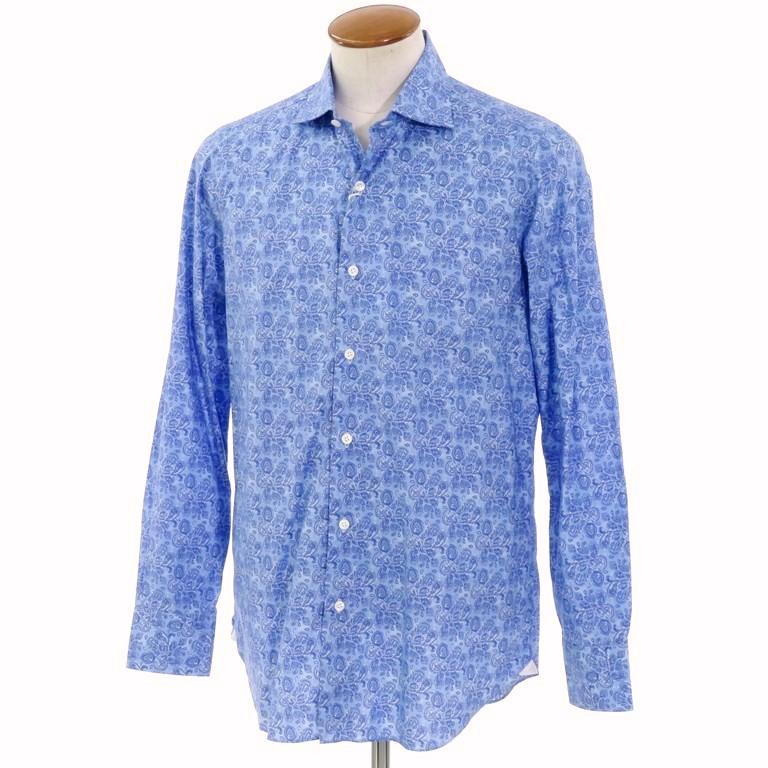 【新品】ベルベスト Belvest ペイズリー柄 プリントコットン ワイドカラーシャツ ブルー【サイズ40】【BLU】【S/S/A/W】【状態ランクN】【メンズ】【10602-955927】
