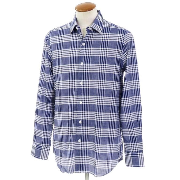 【新品】ベルベスト Belvest チェック柄 コットン レギュラーカラーシャツ ネイビー×ホワイト【サイズ40】【NVY】【S/S/A/W】【状態ランクN】【メンズ】【10602-955926】