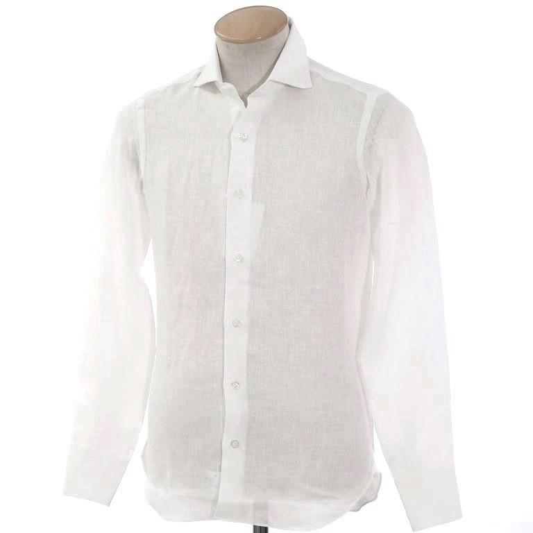 【中古】【未使用】マリアサンタンジェロ Maria Santangelo リネン ホリゾンタルカラーシャツ ホワイト【サイズ36】【WHT】【S/S】【状態ランクS】【メンズ】【10602-955921】