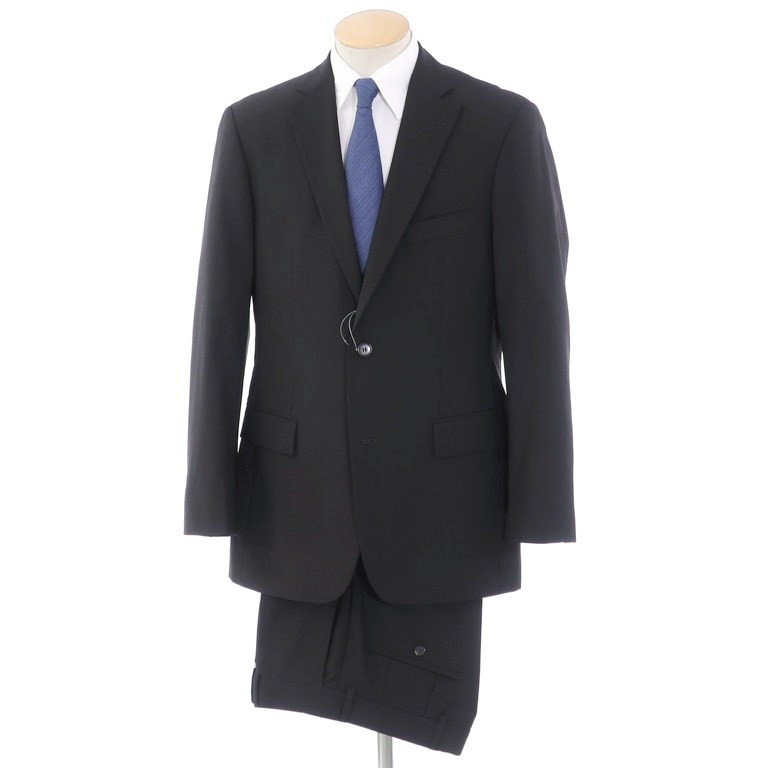 【中古】ヒューゴボス HUGO BOSS ウール 2つボタンスーツ ブラック【サイズ44】【BLK】【S/S】【状態ランクC】【メンズ】【10401-955920】