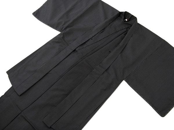 着物美人送料無料 男紬着物 羽織 正絹L 黒 細縞R126001 2smtb kw11201 po nishi01oeQdCBrxW
