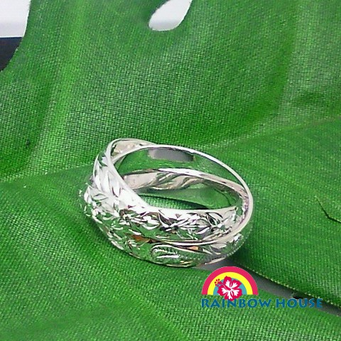 Silver Hawaiian jewerly 3 pattern 3 c 925 waves and flowers, Maile, plumeria ring