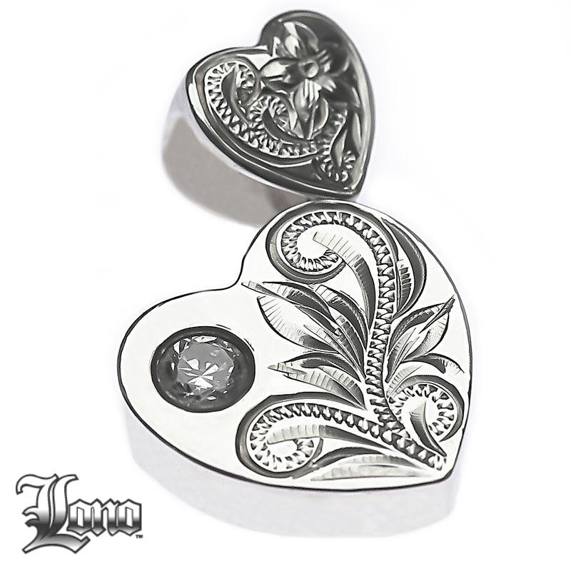 Silver925ハワイアンジュエリーLONO Double Heart with CZ(ロノ ジルコニア付きダブルハート)ペンダントヘッド【送料無料】