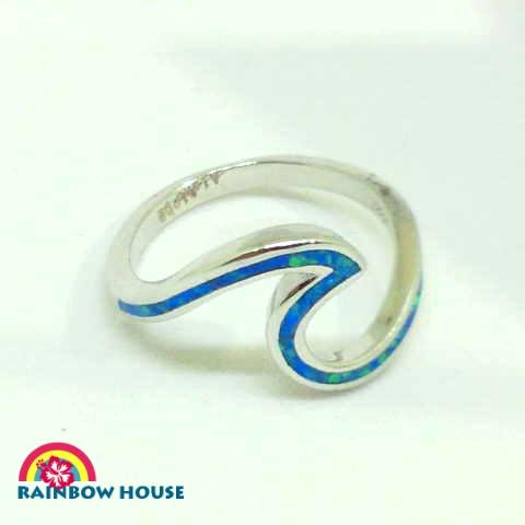 Silver925ハワイアンジュエリーブルーオパールWave Ring