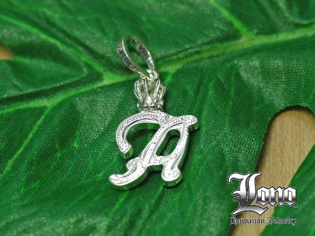 ロノの王冠付きイニシャル [a] LONO Crown Initial [a] ハワイアンジュエリーペンダントヘッド 【送料無料】