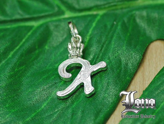 ロノの王冠付きイニシャル [k]!LONO Crown Initial [k]ハワイアンジュエリーペンダントヘッド 【送料無料】