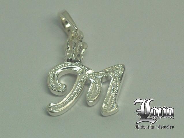 Silver925LONO王冠付きイニシャル [m]! LONO Crown Initial [m] ハワイアンジュエリーペンダントヘッド 【送料無料】