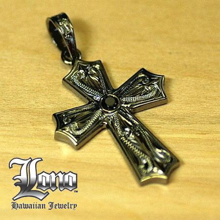 Silver925ハワイアンジュエリーLONO BK Gothic Island Cross (ロノ ゴシック アイランド クロス ブラック) ペンダントヘッド【送料無料】