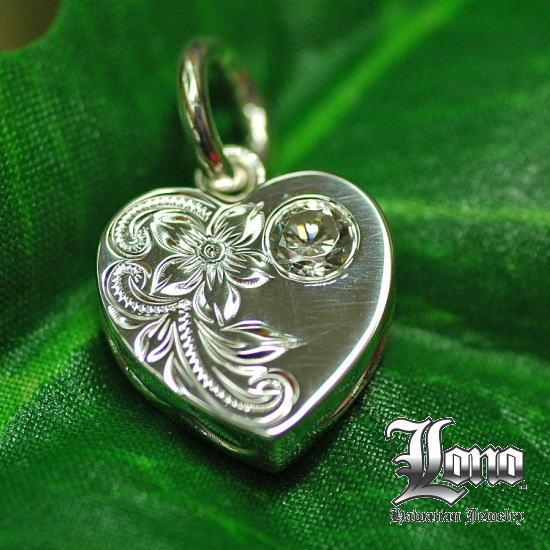 Silver925ハワイアンジュエリーLONO Flat Heart with CZ(ロノ ジルコニア付きフラットハート)ペンダントヘッド【送料無料】