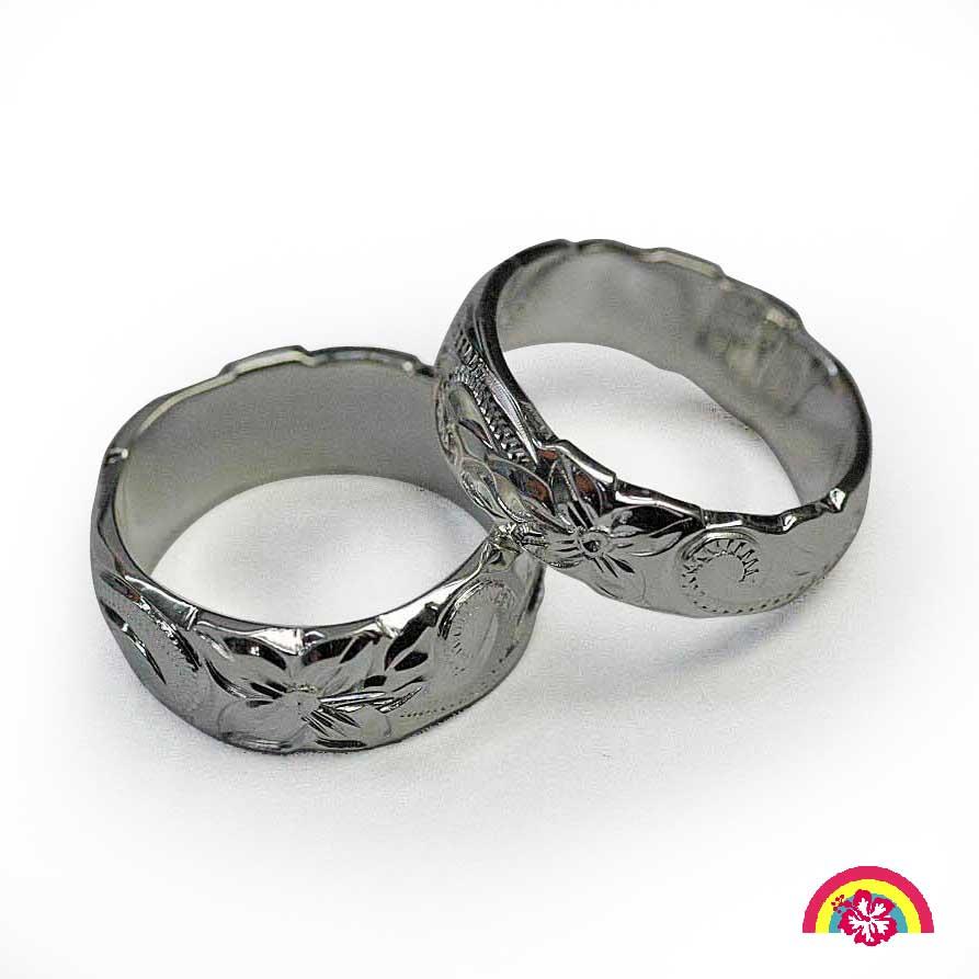 Hawaiian jewerly rainbowhouse rakuten global market in pairs hawaiian jewelry 6 mm width wave and cutout flower ring izmirmasajfo
