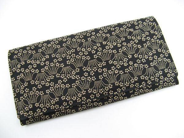 印傳(印伝)長財布 札入 桜菖蒲模様 鹿皮財布 プレゼントにも