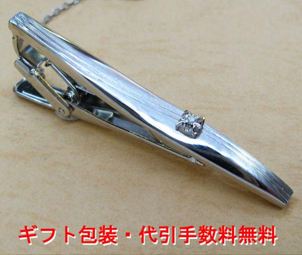 ネクタイピンダイヤモンド シルバー製 タイバー