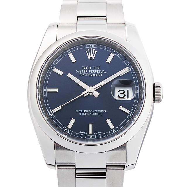 【48回払いまで無金利】ロレックス デイトジャスト M番 116200 ブルー/バー メンズ(18ROU000016)【中古】【腕時計】【送料無料】