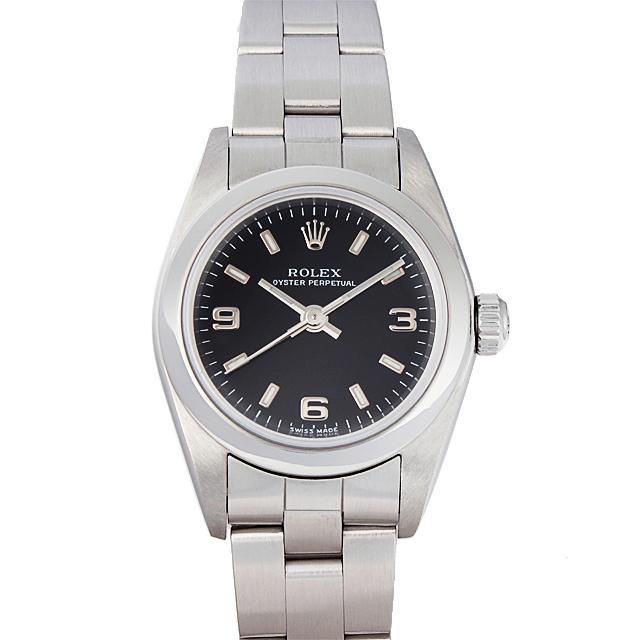 【48回払いまで無金利】ロレックス オイスターパーペチュアル K番 76080 ブラック369/ホワイトバー レディース(50ROU000041)【中古】【腕時計】【送料無料】