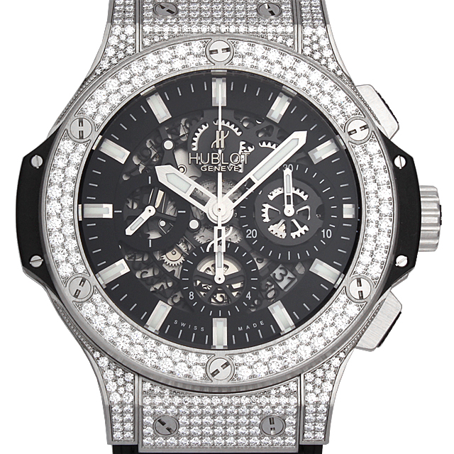 【48回払いまで無金利】ウブロ アエロバン スティール パヴェ 311.SX.1170.GR.1704 メンズ(009FHBAN0063)【新品】【腕時計】【送料無料】