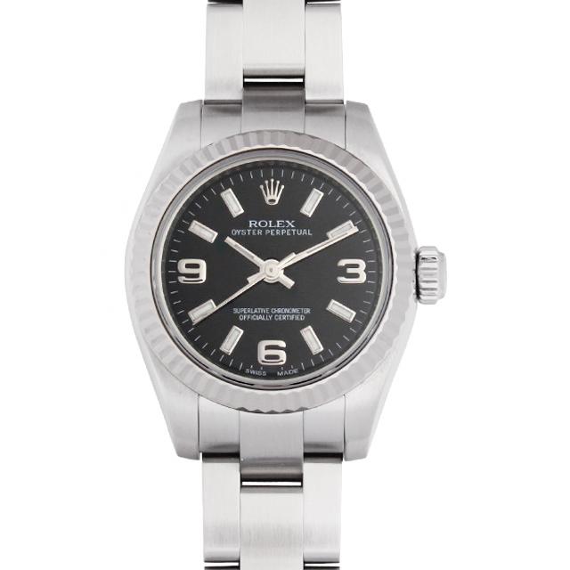 【48回払いまで無金利】SALE ロレックス オイスターパーペチュアル M番 176234 ブラック/369ホワイトバー レディース(01OPROAU0001)【中古】【腕時計】【送料無料】