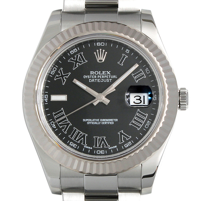 【48回払いまで無金利】ロレックス デイトジャストII ランダムシリアル 116334 ブラック/ローマ メンズ(048CROAU0001)【中古】【腕時計】【送料無料】