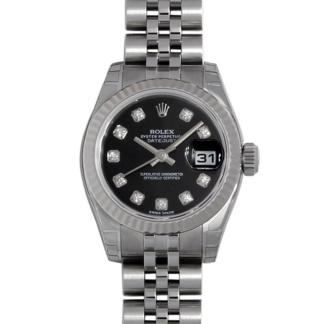 【48回払いまで無金利】ロレックス デイトジャスト 10Pダイヤ 179174G ブラック レディース(07NDROAN0116)【新品】【腕時計】【送料無料】