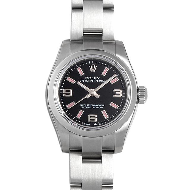 【48回払いまで無金利】ロレックス オイスターパーペチュアル 176200 ブラック/369ピンクバー レディース(0066ROAN0105)【新品】【腕時計】【送料無料】