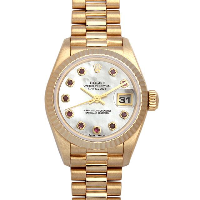 【48回払いまで無金利】SALE ロレックス デイトジャスト 10Pルビー S番 69178NGR ホワイトシェル レディース(0042ROAU0018)【中古】【腕時計】【送料無料】