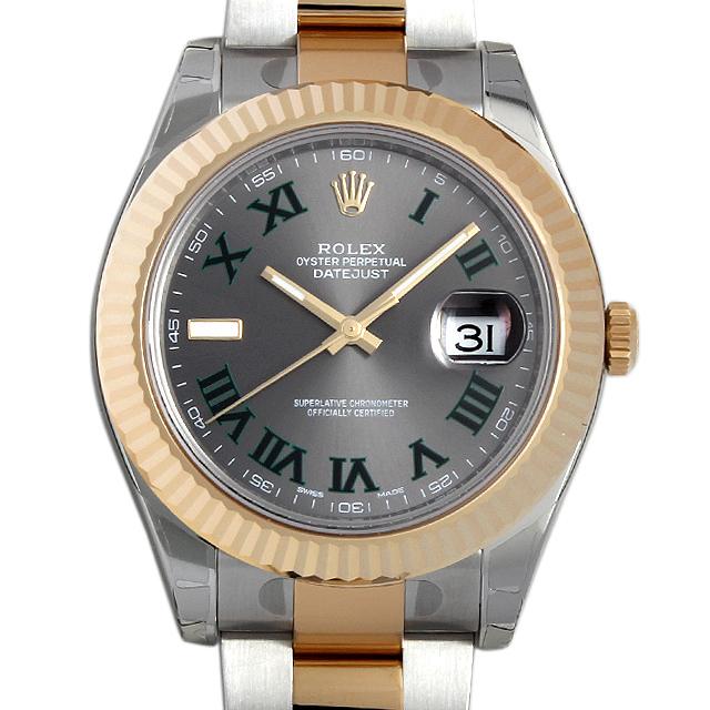 【48回払いまで無金利】ロレックス デイトジャストII 116333 グレー/グリーンローマ メンズ(0018ROAR0042)【新品】【腕時計】【送料無料】