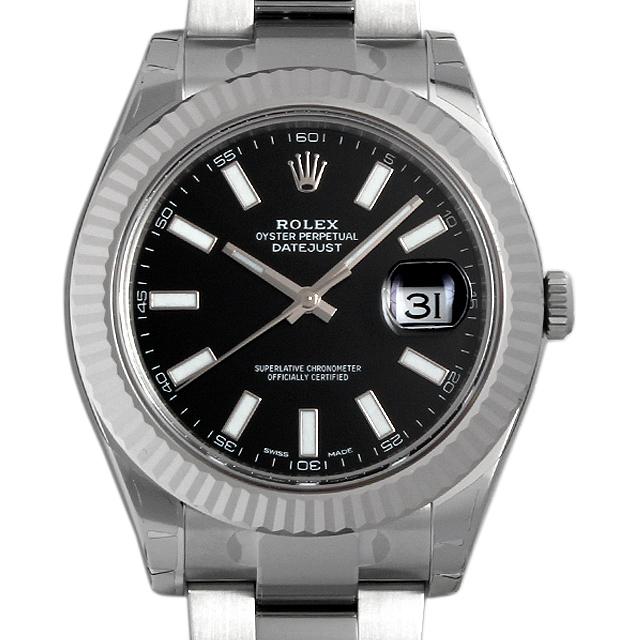 【48回払いまで無金利】ロレックス デイトジャストII 116334 ブラック/バー メンズ(0018ROAR0061)【新品】【腕時計】【送料無料】