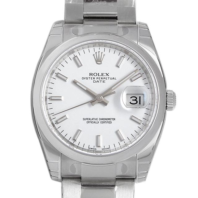 【48回払いまで無金利】ロレックス オイスターパーペチュアル デイト 115200 ホワイト/バー メンズ(009FROAN0052)【新品】【腕時計】【送料無料】