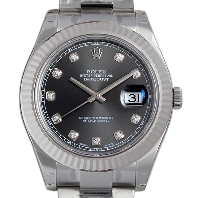 ロレックス デイトジャストII 10Pダイヤ 116334G グレー メンズ(0018ROAR0041)【新品】【腕時計】【送料無料】