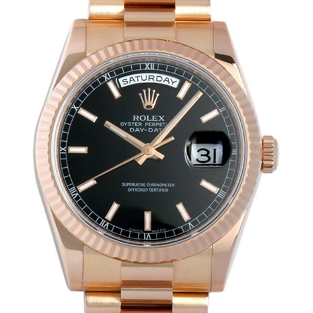 【48回払いまで無金利】ロレックス デイデイト V番 118235F ブラック/バー メンズ(019DROAU0001)【中古】【腕時計】【送料無料】