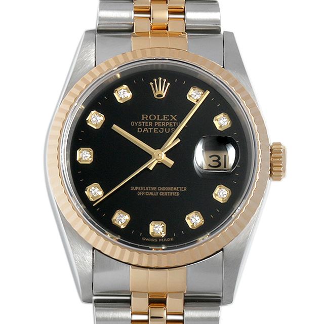 ロレックス デイトジャスト 10Pダイヤ T番 16233G ブラック メンズ(04HBROAU0001)【中古】【腕時計】【送料無料】