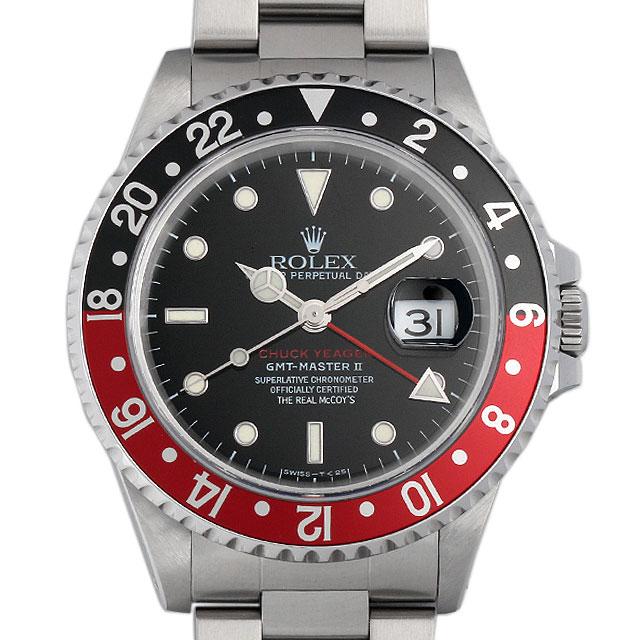 【48回払いまで無金利】ロレックス GMTマスターII 赤黒ベゼル チャックイエーガー ファーストモデル U番 16710 メンズ(07YOROAU0001)【中古】【腕時計】【送料無料】