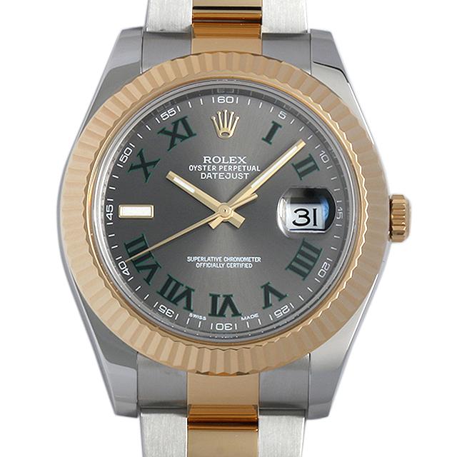 【48回払いまで無金利】SALE ロレックス デイトジャストII 116333 グレー/グリーンローマ メンズ(084PROAU0001)【中古】【腕時計】【送料無料】